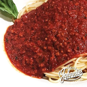 Spaghetti Bolognese - Johnnie's New York Pizza 5757 Wilshire Blvd # 102 Los Angeles 90036 www.lajohnniesnypizzeria.com Miracle Mile Johnnys Pizza