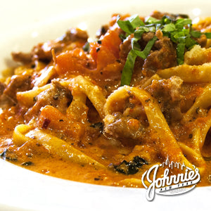 Fettuccini with Italian Sausage - Johnnie's New York Pizza 5757 Wilshire Blvd # 102 Los Angeles 90036 www.lajohnniesnypizzeria.com Miracle Mile Johnnys Pizza