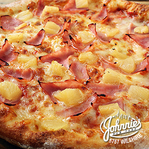 Hawaiian Pizza - Johnnie's New York Pizza 5757 Wilshire Blvd # 102 Los Angeles 90036 www.lajohnniesnypizzeria.com Miracle Mile Johnnys Pizza