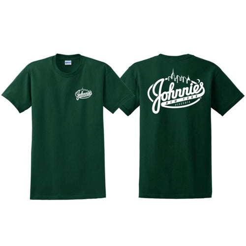 Johnnie's T-Shirt - Johnnie's New York Pizza 5757 Wilshire Blvd # 102 Los Angeles 90036 www.lajohnniesnypizzeria.com Miracle Mile Johnnys Pizza