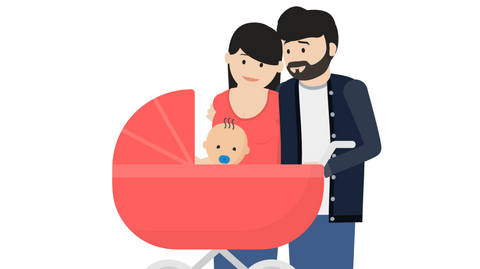 underdog family with baby in carriage