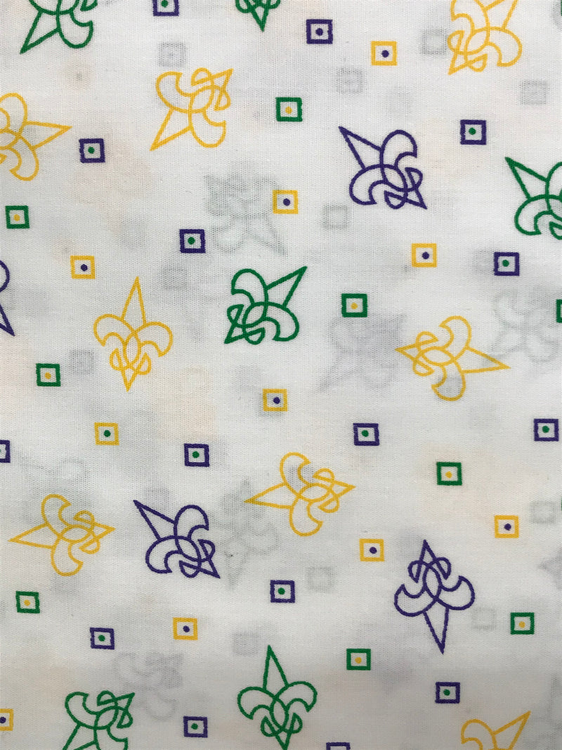 Fabric Finders - Purple, Kelly And Gold Fleur De Lis Fabric