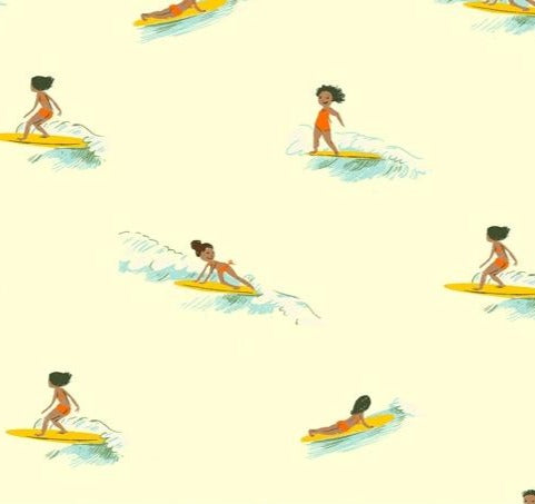 Windham Fabrics - Malibu - Tiny Surfer in Cream - Heather Ross - 52146-5.