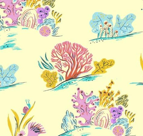 Windham Fabrics - Malibu - Coral in Blue  - Heather Ross - 52147-10.