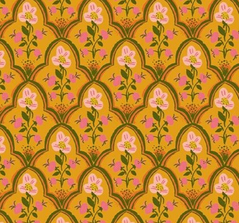 Windham Fabrics - Malibu - Wood Block in Olive  - Heather Ross - 52151-20.