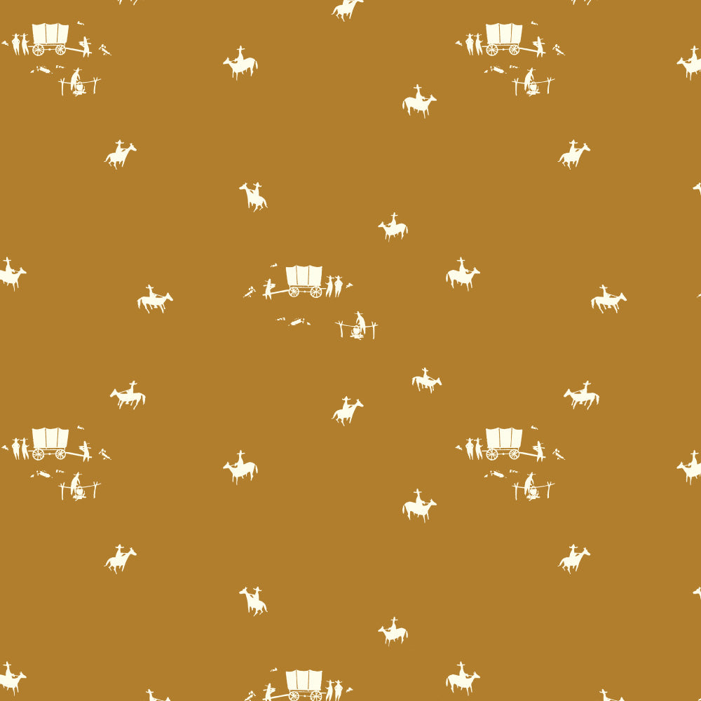 BIRCH FABRICS - NEW FRONTIER:HORSE AND BUGGY OCHRE
