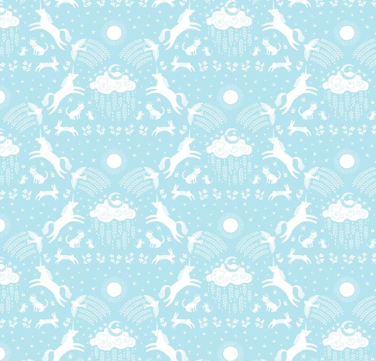 BLEND FABRICS - HAPPY SKIES UNICORN - BLUE