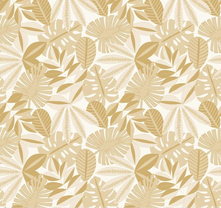 BLEND FABRIC -  MAUDE ASBURY - TREE HUGGERS - TROPICAL FOLIAGE GOLD