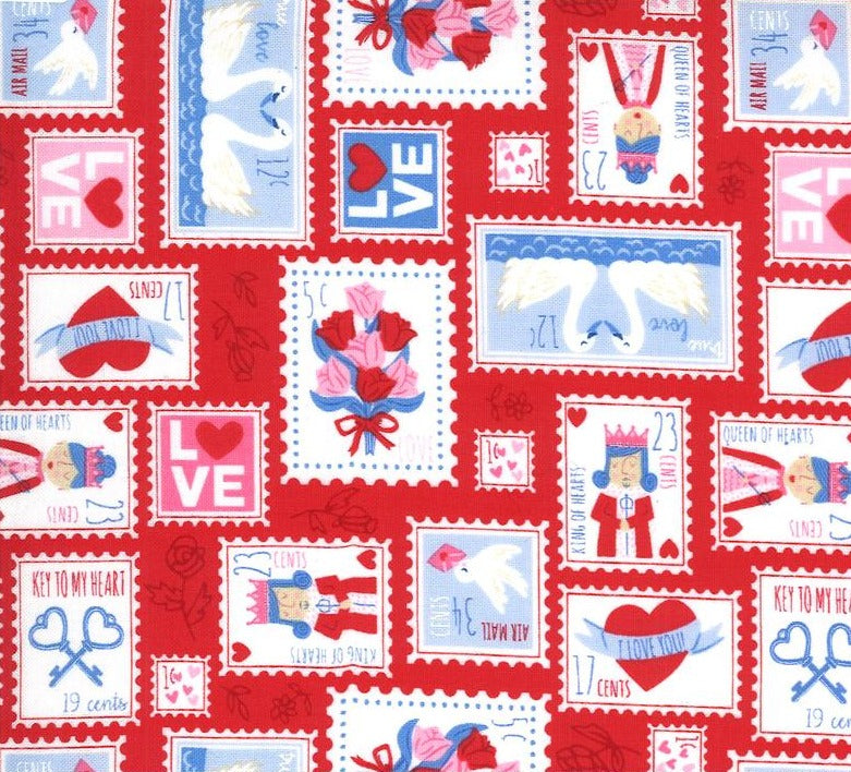 Moda Fabrics  - Be Mine Kisses - Stamps