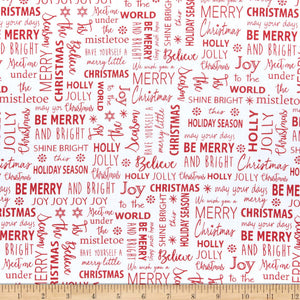 Benartex Fabric - Joy - Tis the Season - White - Red