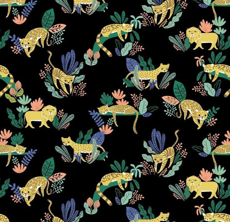 Blend Fabrics - Lions and Tigers and More - Wild Cats Black