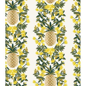 Cotton+Steel Fabrics - Rifel Paper - Primavera - Pineapple Stripe - Cream Canvas Metallic