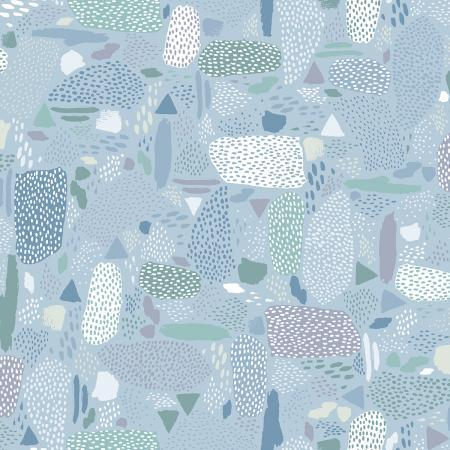 Cotton + Steel Fabrics -  Girls Club - Pebbles - Blue Sky