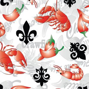 Fabric Finders Fabrics - Crawfish, Fleur De Lis, And Chillie Peppers