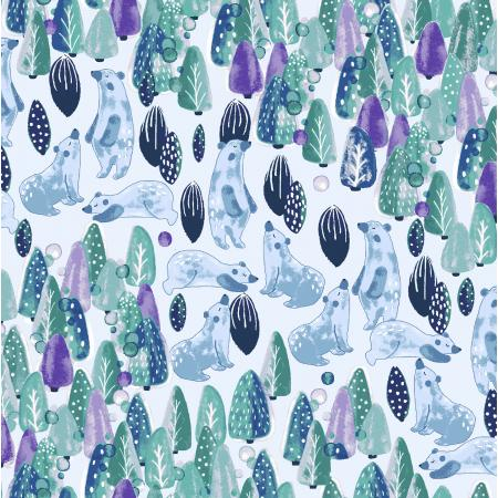 COTTON+STEEL FABRICS -  CHILL OUT - SAVE THE POLAR BEARS - FOREST GREEN FABRIC