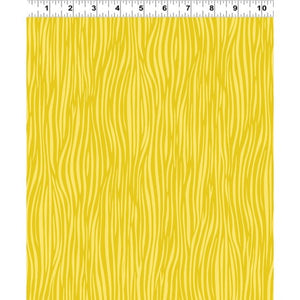 Clothworks Fabric - Forest Babes Wavy Stripe by Helen Dardik Light Gold