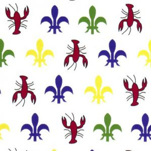 Fabric Finders Fabric  -   Crawfish Fleur-de-lis  Fabric – Purple, Gold, Green, Red