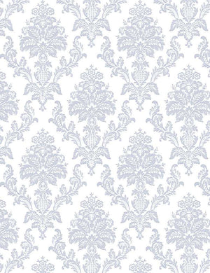Dear Stella Fabrics  -  Chop It Like It's Hot - Heirloom - Damask - White