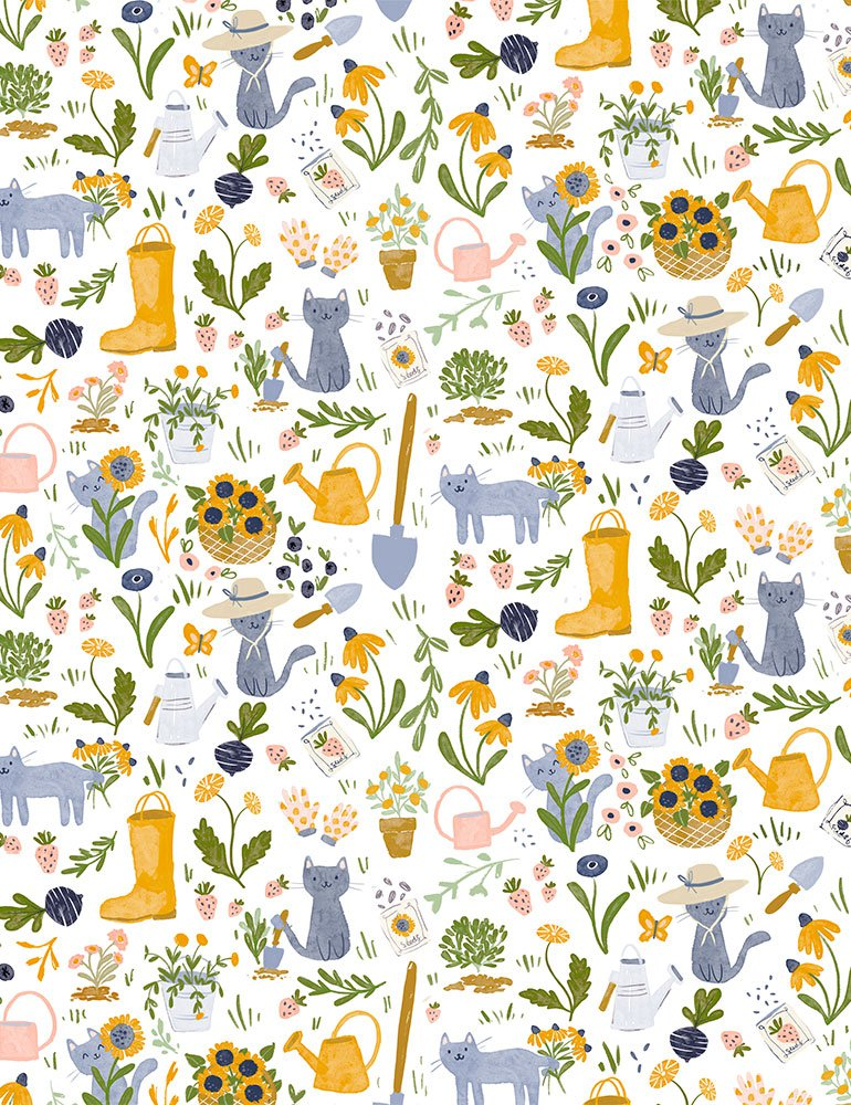 Dear Stella Fabrics - Meant to Bee - Gardening Cats - White