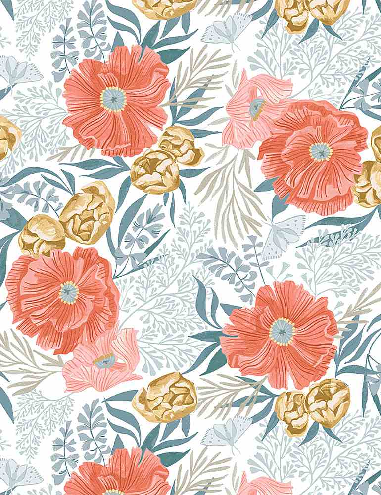 Dear Stella Fabrics  - Poppies - White