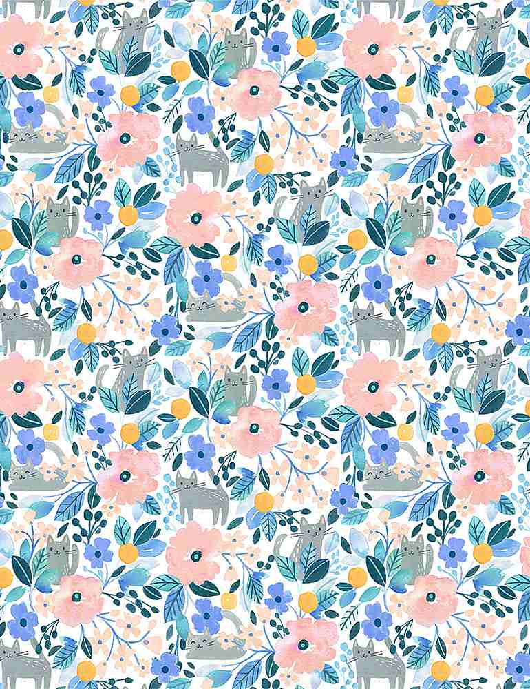 Dear Stella Fabrics  -  Summer Lovin - Kitty Floral  Digital