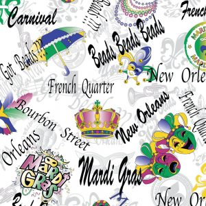 FABRIC FINDERS FABRIC - NEW ORLEANS FABRIC: MASKS, CROWNS, MARDI GRAS, BEADS