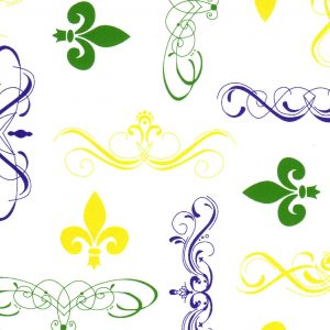 FABRIC FINDERS FABRICS - FLEUR DE LIS FABRIC PURPLE, GREEN AND GOLD