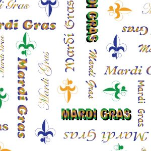 FABRIC FINDERS FABRICS - MARDI GRAS WORD PRINT FABRIC