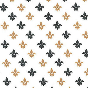 Fabric Finders Fabric - Fleur-de-lis Fabric - Black and Bronze