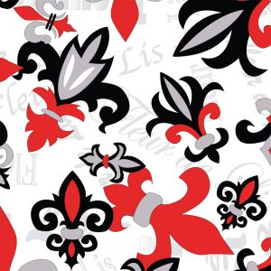 FABRIC FINDERS FABRICS -    FLEUR-DE-LIS FABRIC: RED, BLACK AND GREY
