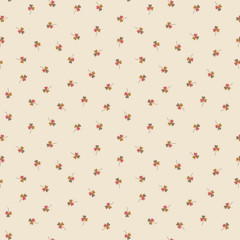 LEWIS & IRENE FABRICS -UNDER THE OAK TREE - CLOVER ON CREAM
