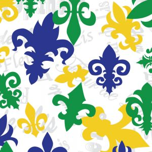 FABRIC FINDERS FABRIC - LARGE FLEUR-DE-LIS FABRIC: GREEN, PURPLE AND GOLD