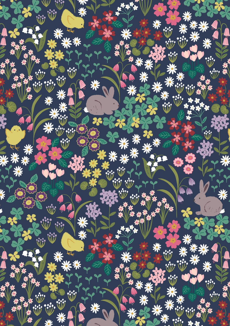 Lewis & Irene Fabrics -  Bunny Hop - Bunny and Chick Floral on Dark Blue