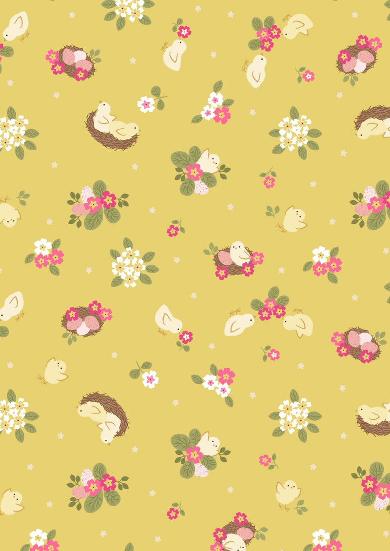Lewis & Irene Fabrics -  Bunny Hop - Chicks on Yellow