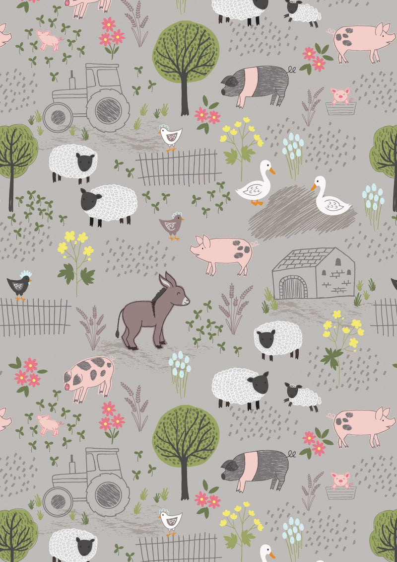 Lewis & Irene Fabrics -  Piggy Tales - Farmyard on Mid Gray