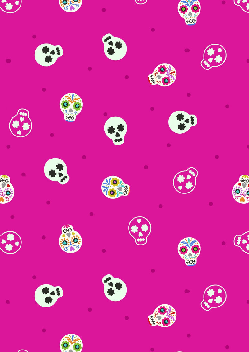 Lewis & Irene Fabrics -  Small Things Glow - Sugar Skulls on Bright Pink