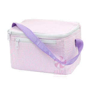 Mint Sweet Little Bags - Lunch box - Princess  Seersucker  ( Pink with Lavendar Strap