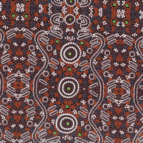 M & S TEXTILES - DREAMTIME - WATER DREAMING BURGUNDY