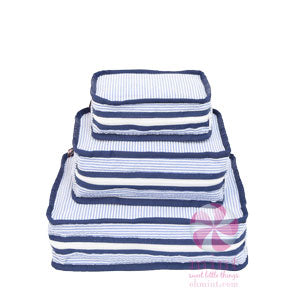 Mint Sweet Little Bags - Stacking Set - Navy Seersucker  (set/3)