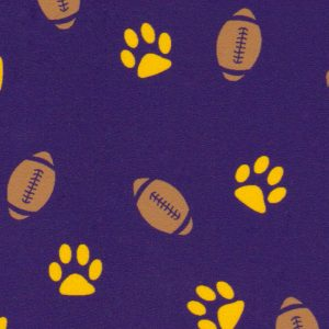 Fabric Finders Fabrics -  Paw and Football Print Fabric: Gold Paws & Footballs on Purple