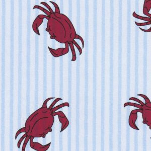FABRIC FINDERS FABRICS -  Printed Seersucker Fabric:– Red Crabs on Blue