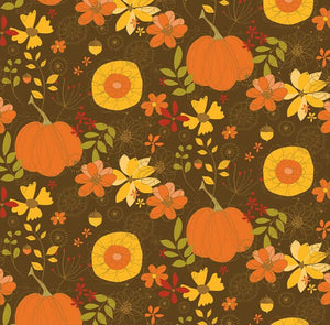 RILEY BLAKE FABRICS -   GIVE THANKS MAIN BROWN