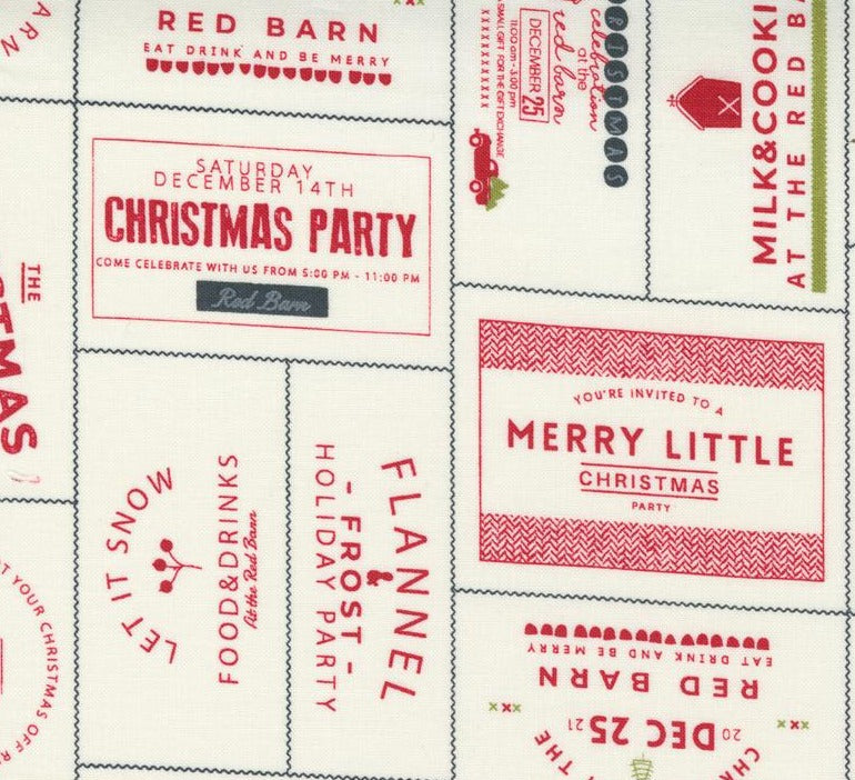 Moda Fabrics  - Red Barn Christmas Vanilla Red - Christmas Tags - White Background