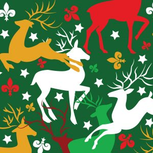 Fabric Finders Fabrics -Reindeer And Fleur-De-Lis Fabric: Red, Green And Yellow