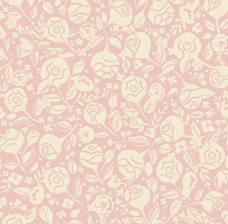 Riley Blake Fabrics - Beauty And The Beast -  Floral Pink