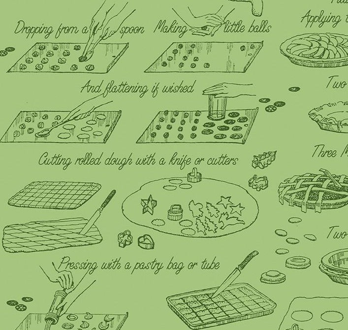 Riley Blake Fabrics - Snow Sweet  - Vintage Cookbooks Green