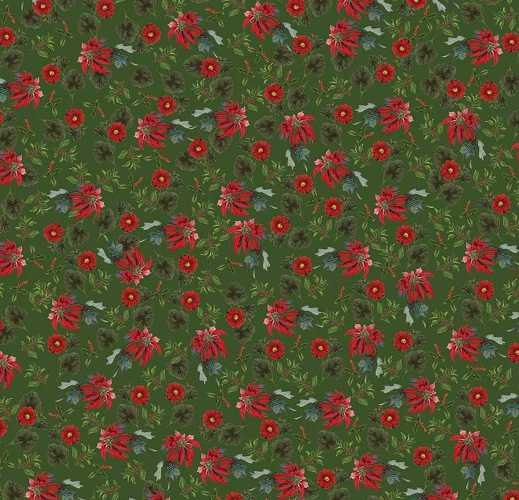 Riley Blake Fabrics  - Yuletide - Poinsettias Green
