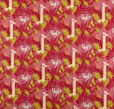 STOF FRANCE FABRIC - PARESSEUX JERS ANIMALS ROSE