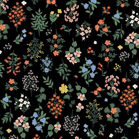 Cotton+Steel Fabrics - Rifel Paper Co. - Strawberry Fields - Hawthorne - Black