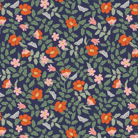 Cotton+Steel Fabrics - Rifel Paper Co. - Strawberry Fields - Primrose - Navy Rayon